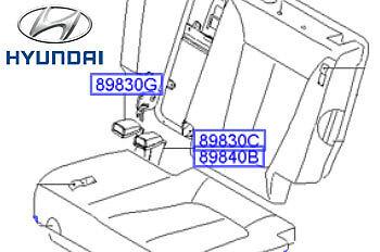Genuine Hyundai Santa Fe Seat Back Belt Stalks LH Left Passenger 898302B000WK