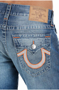 True-Religion-Men-039-s-Mesh-U-Logo-Skinny-Jeans-w-Flaps-in-Hidden-Night