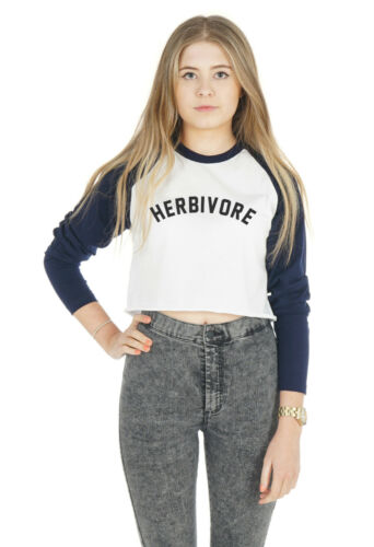 Herbivore crop raglan tee t-shirt top cropped slogan drôle vegetarian vegan boho