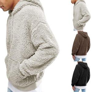 Men-039-s-Loose-Hoodies-Plush-Long-Sleeve-Jacket-Hoodie-Outerwear-Sweatshirt-Coat