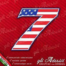 Adesivo Stickers NUMERO 7 moto auto cross gara USA Star & Stripes 5 cm
