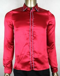 fe48252137f  895 New Authentic Gucci Men s Red Crepe Satin Silk Shirt 399075 ...