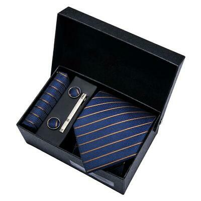 Mens Silk Tie Set Father/'s Day Gift Blue Striped Necktie Handkerchief Cufflinks