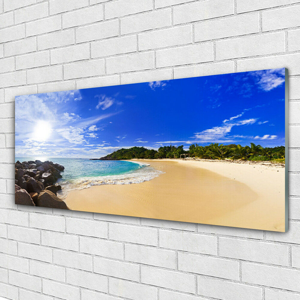 Impression sur verre Wall Art 125x50 Photo Image Soleil Mer Plage Paysage