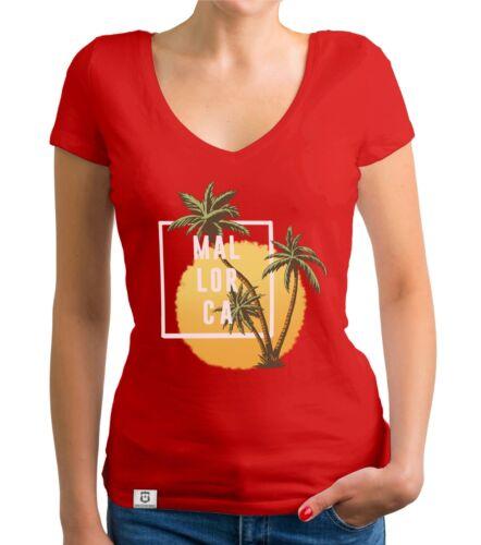 Urlaub Strand Sommer Insel Damen T-Shirt V-Neck Mallorca Palmen und Sonne