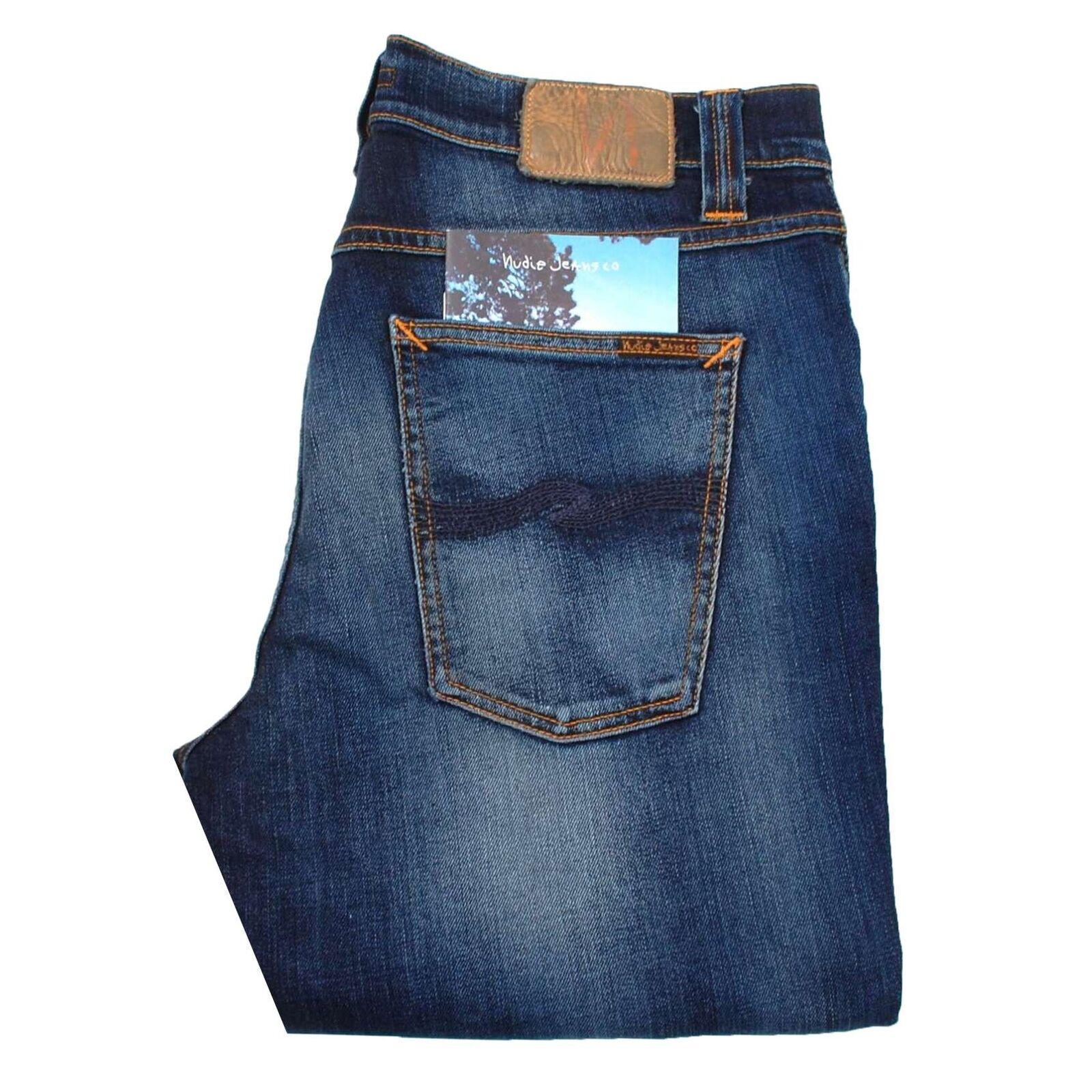 Nudie Jeans Mager Dekan Peel Blau Enge Passform 169 GBP Herren Größe 34 36