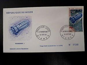 NIGER-AERIEN-64-PREMIER-JOUR-FDC-ESPACE-VOSKHOD-I-50F-1966