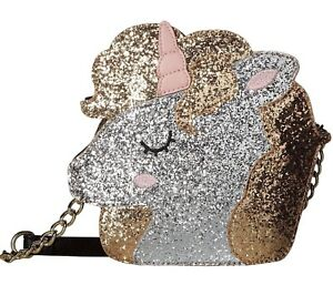 Luv-Betsey-Johnson-Kitsch-Unicorn-Crossbody-Bag-Gemz-Glitter-Purse-Silver-Gold