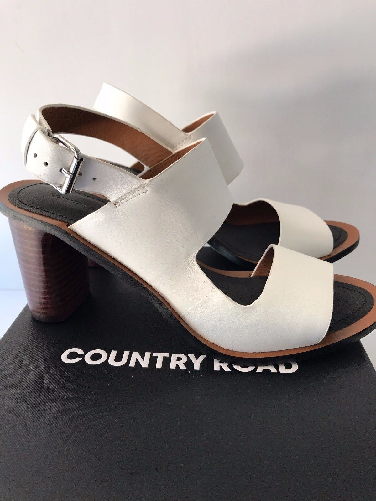 COUNTRY ROAD [CR LOVE] NEW! SZ 38,39,40,41 ANNALISE HEEL LEATHER WHITE 7,8,9,10