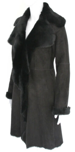 Women's Shearling 3 Leather Length Real Merino Black Suede Coat Full Sheepskin 4 adx6q