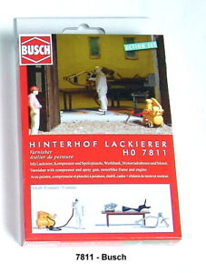 Busch-Ho-7811-Action-Set-Backyard-Painters-Finshed-Model-New-Boxed