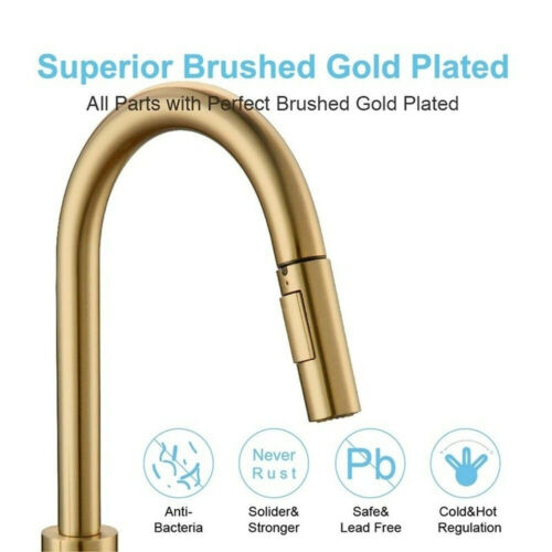 Kitchen Taps Pull Out Spray 360° Sink Taps Swivel Spout Mixer Tap Brushed Gold