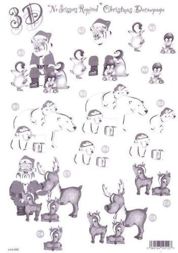 3D Die Cut Monochrome Christmas Decoupage Polar Bears and Penguins