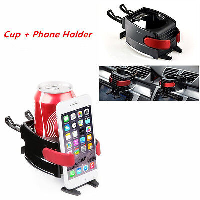 Lefan 2 In 1 Car Universal Air Vent Phone Holder Stand Drinks Holder Bottle Cup