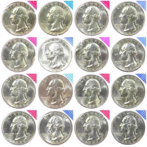 1990-1998 P D Washington Quarters Mint Cello Set BU Run 18 US Coin Lot ships fre