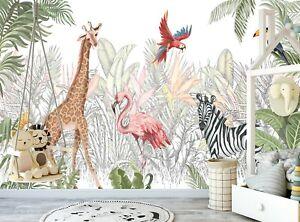 Jungle Wall Mural Animals Jungle Wallpaper Children Kids Room Nursery Watercolor Ebay