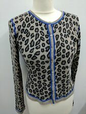 Aqua100% Cashmere Cardigan Leopard Print With Blue Line Design UK 6/8