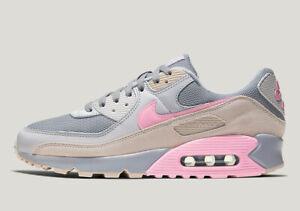 Nike-AIR-MAX-90-GEL-COLORI-TENUI-POPS-grande-grigio-e-rosa-MEN-039-S-TRAINER-Limited-Taglie
