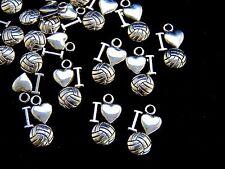 """20 Pcs  Tibetan Silver """" I Love Football """" Charms Sport Kids Adult Jewellery S12"""