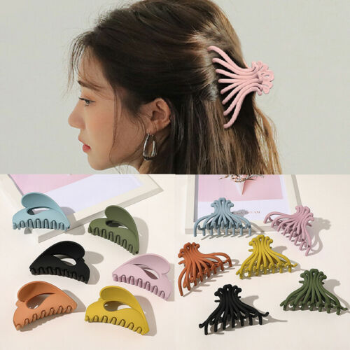 Details about  /Women Girls Hair Clip Claws Clamp Ponytail Bun Holder Solid Color Comb Hairpins