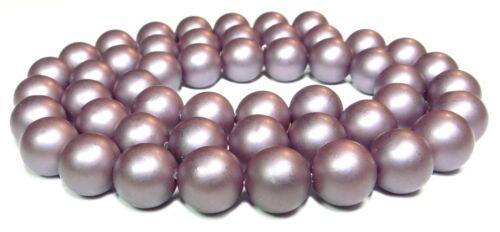 Muschelkernperlen matt purpur 8 mm Kugeln Perlen Strang MUK-15