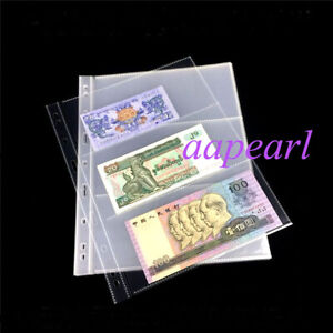 10 Pages 3 Pockets Double Sided 9X19cm Currency Sleeves Holders Banknotes Bills