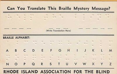 RHODE ISLAND ASSOCIATION FOR THE BLIND ~ BRAILLE MESSAGE on c1960 Card