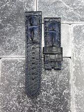 24mm Genuine Alligator Skin Watch Band PANERAI Blue Giant Hornback Tang Strap