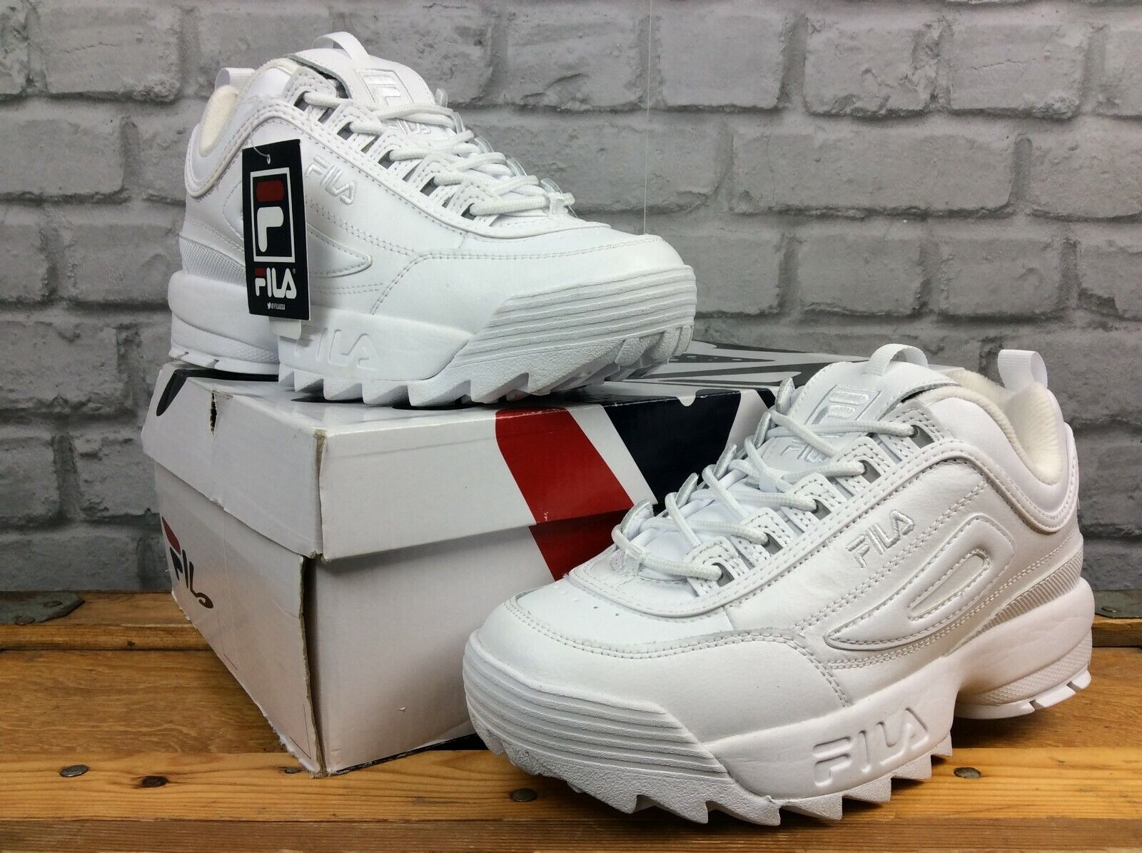FILA LADIES UK 5.5 EU 39 DISRUPTOR II PREMIUM  Weiß CHUNKY TRAINERS SUMMER