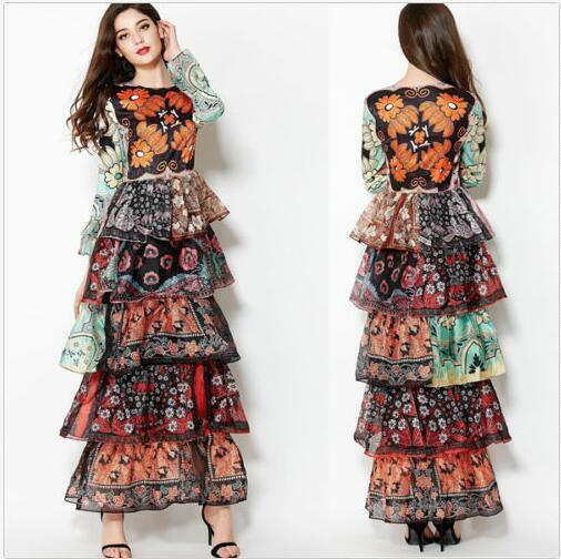 Fashion Women's Floral Print Ruffles Maxi Dress Long Sleeve Party Casual Dresses