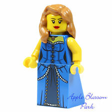 NEW Lego Movie FEMALE MINIFIG -Rootbeer Belle w/Blue Torso Dress Girl Hair 70812