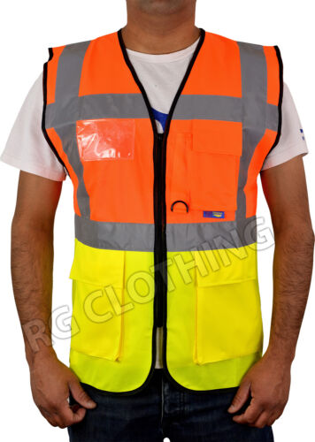 sicurezza recupero Executive 2 Toni Gilet Zip Tasca Gilet Taglia S-4XL Hivis lavoro