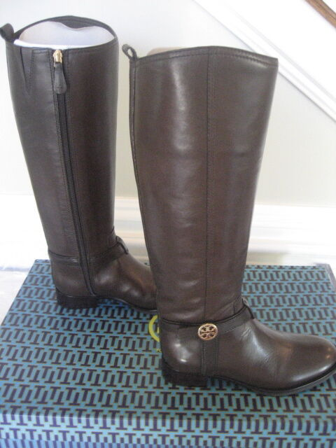 NIB Tory Burch Bristol Brown Coconut gold Leather Leather Leather Riding Boots Tall Size 8.5 f50a49