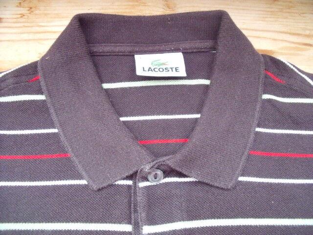 d22c937c689 Tp1990 Lacoste polo polo polo manches courtes taille 4 M marron blanc rouge  rayé très bien