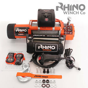 Electric Recovery Winch - 24v 13500lb - Heavy Duty Steel Cable, 4x4 Car ~ RHINO