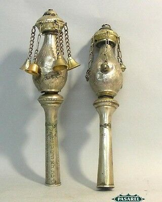 Antique Pair Austrian Silver Torah Finials Vienna C1890