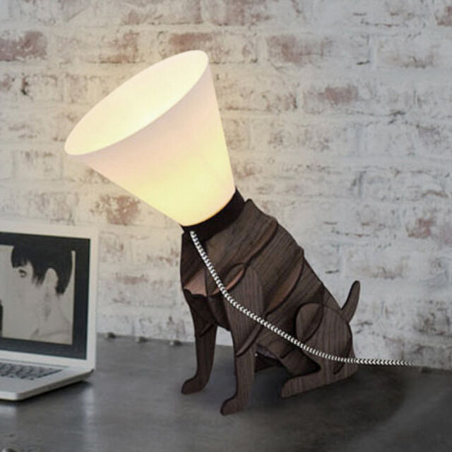Modern brown wooden designer style dog on lead table lamp light picture 3 of 5 aloadofball