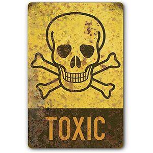 toxic warning skull crossbones symbol tin metal sign vintage rust fx