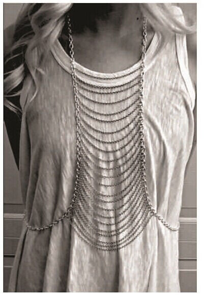 Hot Fashion Punk Multilayer Tassels Body Chain Necklace Link Waist Chain Harness