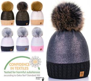 Uni Femme Câble Tricot Pompon Bonnet Beanie Très Chaud Hiver Pom Wooly Cap Noir-afficher Le Titre D'origine Qualité SupéRieure (En)
