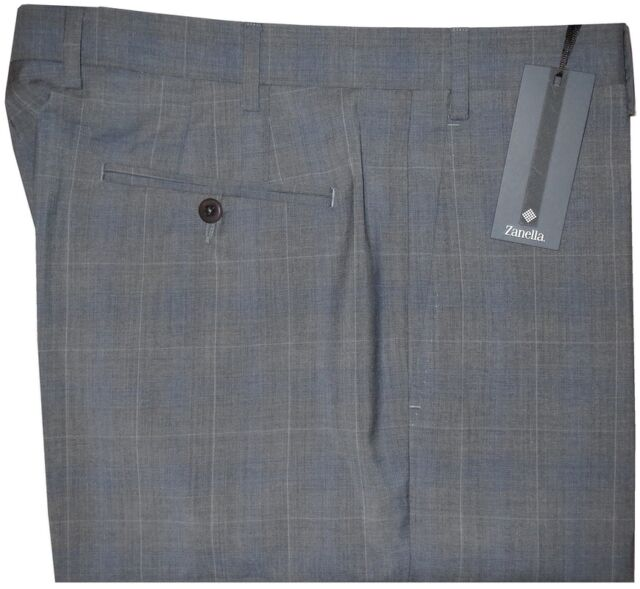 $365 NEW ZANELLA NORDSTROM DEVON HEATHER GRAY WINDOWPANE DRESS PANTS 38