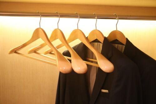 1~50 Pack Wooden Suit Hangers Wide Shoulders Natural Wood Hanger Extra-Wide EK
