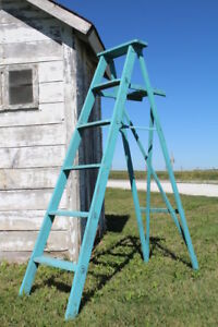 "64"" Old Vintage Wooden Turquoise Stepladder Home Decorating Rustic Decor"