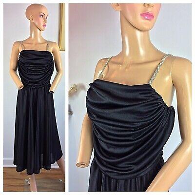 Vtg 80s Party Prom Slinky Dynasty Sequin Glam Dance Tail Rhinestones Dress M Ebay