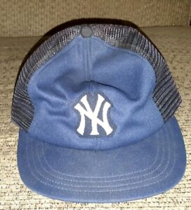 da1d2c03a Details about Vintage New York Yankees MLB Trucker Hat Mesh Snapback  BASEBALL CAP 1980's old