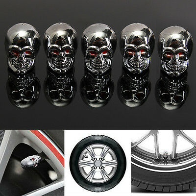 5x Red Eyes Evil Skull Tyre Tire Air Valve Stem Dust Caps Car Truck Halloween