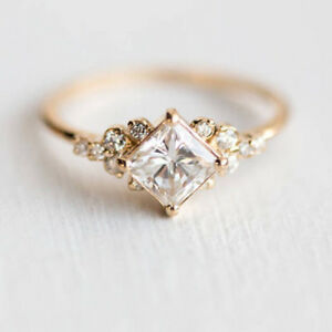 Dazzling-Princess-Cut-White-Sapphire-18K-Rose-Gold-Ring-Wedding-Jewelry-Size-8