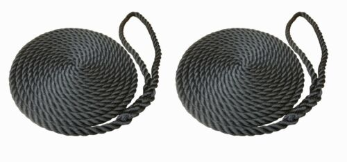 2 x 15 MTS OF 14MM BLACK SOFTLINE MOORING ROPES / WARPS / LINES BOATS