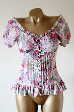 Next Pretty Cream Pink Floral Corset Tie Back Boned Gypsy Wench Blouse Top 8