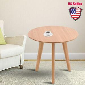 Round Side Table End Table Wood Coffee Tea Table Living Room Home